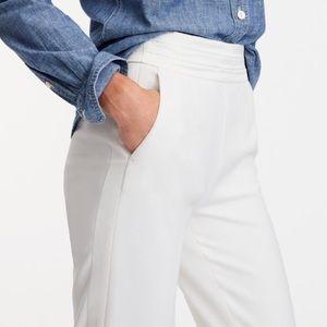 J. Crew Women's Petite Martie White Tuxedo Pants